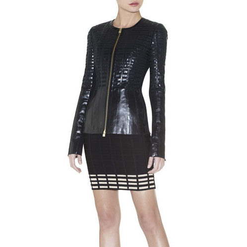 HERVE LEGER ERIN LEATHER-GRID BANDAGE JACKET BLACK