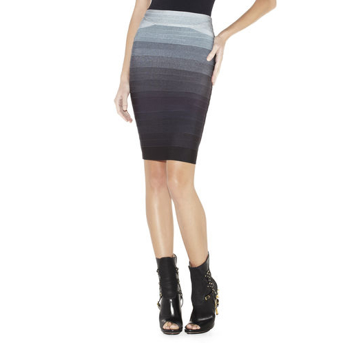 HERVE LEGER ABBEY OMBRE BANDAGE SKIRT PACIFIC BLUE COMBO