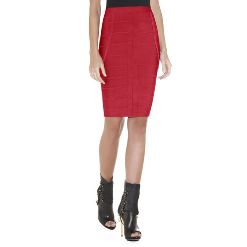 HERVE LEGER ELIAS SIGNATURE BANDAGE SKIRT RIO RED