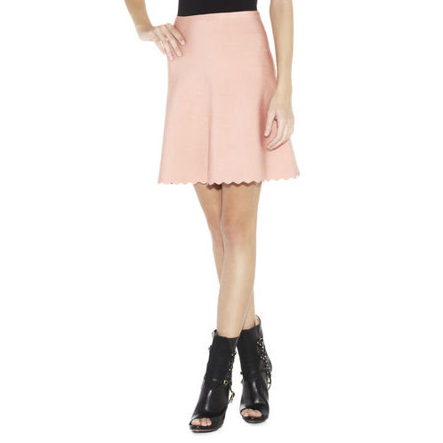 HERVE LEGER FAY SCALLOPED-EDGE A-LINE SKIRT BLUSH