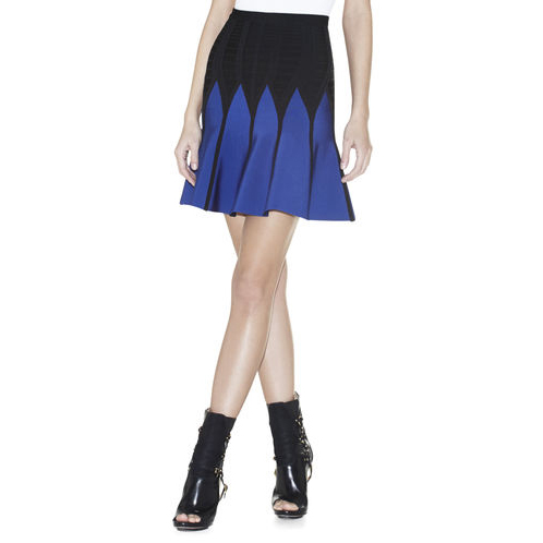 HERVE LEGER KERRA JAGGED COLORBLOCKED SKIRT BLUE SAPPHIRE COMBO