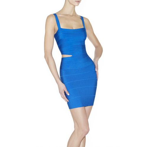 HERVE LEGER ROXY CUTOUT DRESS DEEP OCEAN