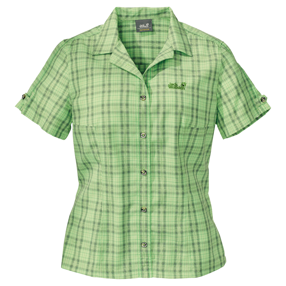 JACK WOLFSKIN WOMEN MOSQUITO SUN SHIRT SHARP GREEN CHECKS