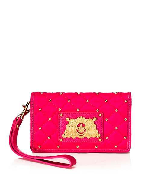 JUICY COUTURE WRISTLET QUILTED NYLON TECH Hot Pink
