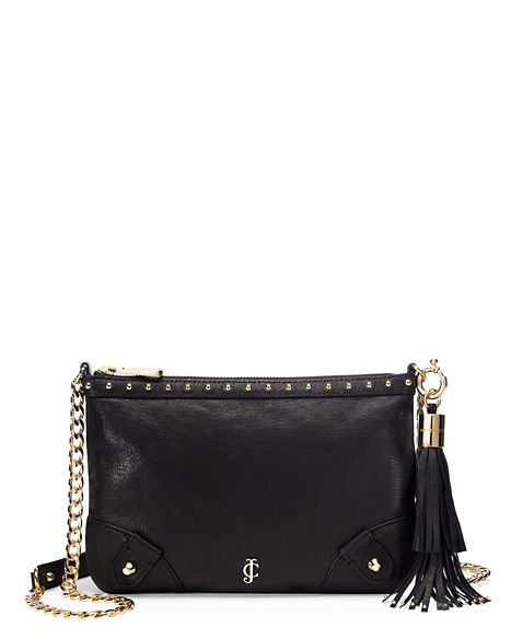 JUICY COUTURE LUXE LEATHER CROSSBODY Black