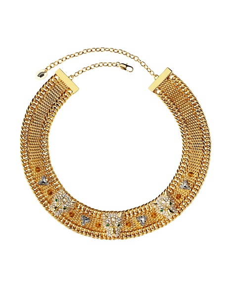 JUICY COUTURE NECKLACE PAVE LEOPARD MESH Gold