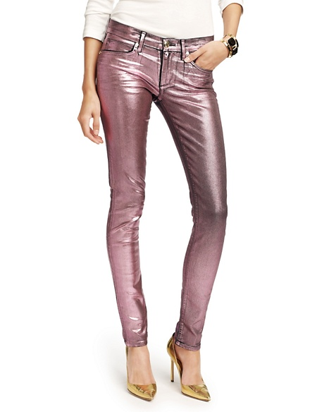 JUICY COUTURE JEAN IRIDESCENT FOIL SKINNY Opal Sprkle Pink