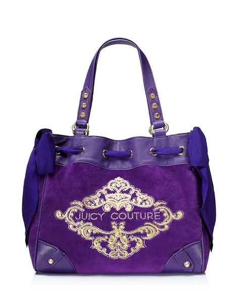 JUICY COUTURE ORNATE VELOUR DAYDREAMER Jeweled Plum