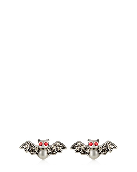 JUICY COUTURE EARRING LIMITED EDITION PAVE BAT STUD Hematite