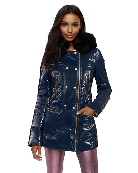 JUICY COUTURE COAT HOODED SHINE PUFFER Regal