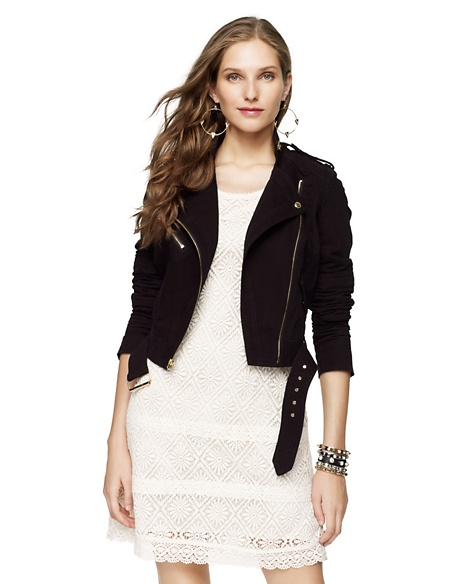 JUICY COUTURE JACKET WOMEN SOLID MOTO Pitch Black