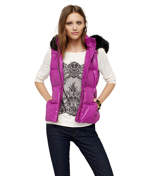 JUICY COUTURE VEST WOMEN NYLON PUFFER Crushed Berry