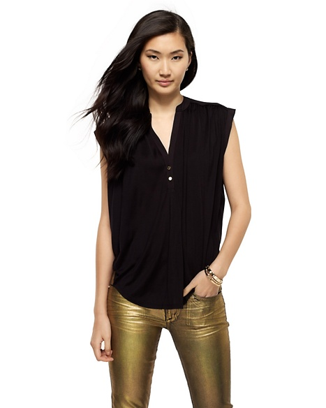 JUICY COUTURE BLOUSE WOMEN SILK JERSEY SLEEVELESS Pitch Black