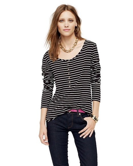 JUICY COUTURE WOMEN STRIPED HENLEY Pitch Black