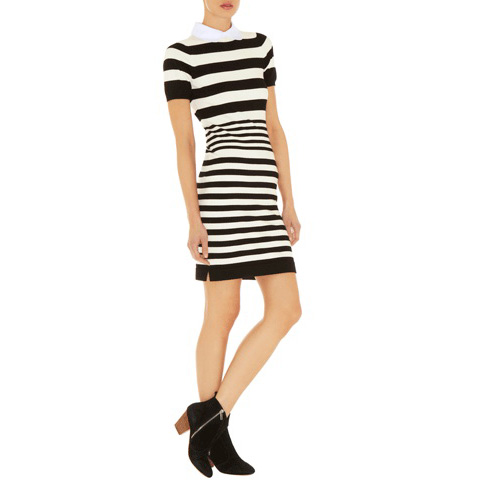 KAREN MILLEN STRIPE KNIT COLLECTION DRESS