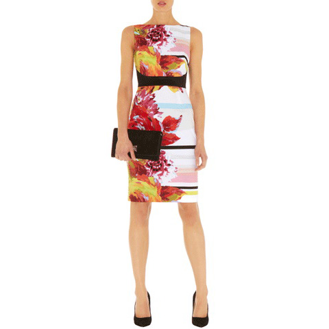 KAREN MILLEN COTTON FLORAL PRINT DRESS