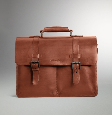 Kenneth Cole Collection Raw-Edge Portfolio Bag COGNAC