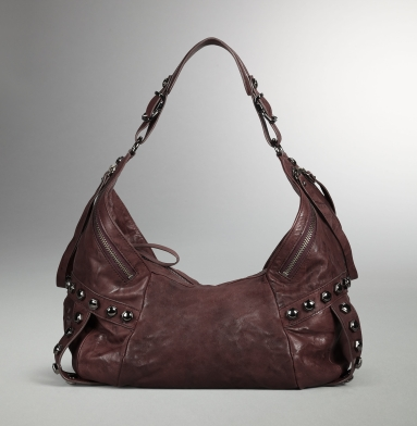 Kenneth Cole Collection Hudson Rivet Hobo BURGUNDY