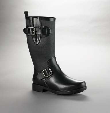 Kenneth Cole New York Buckled Rain Boot BLACK