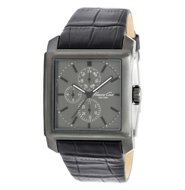 Kenneth Cole New York Square Watch With Black Croco-Embossed Strap