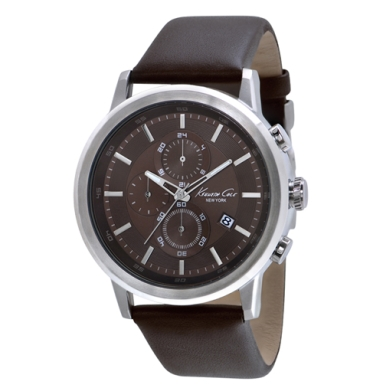 Kenneth Cole New York Chronograph Watch With Brown Leather Strap