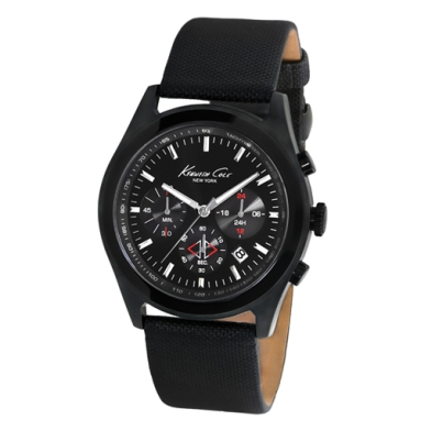 Kenneth Cole New York Chronograph Watch With Textured Leather Strap