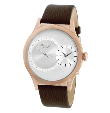 Kenneth Cole New York Leather-Strap Watch With Subdial