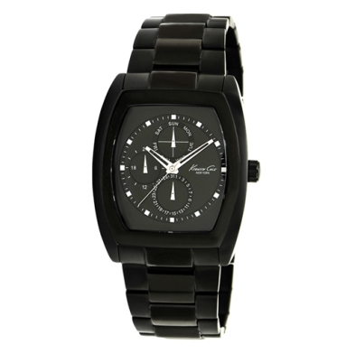 Kenneth Cole New York Rectangular Watch With Black Link Strap