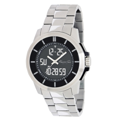 Kenneth Cole New York Digital Watch With Black And Stainless Steel Strap