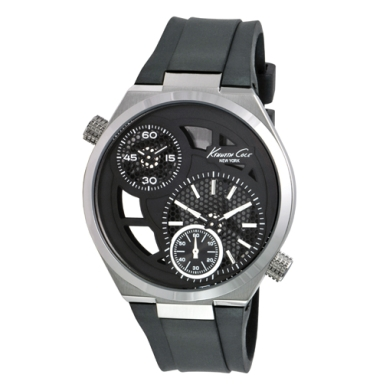 Kenneth Cole New York Dual Time Zone Watch with Black Strap