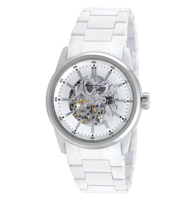 Kenneth Cole New York Automatic Watch With White Rubber Link Strap