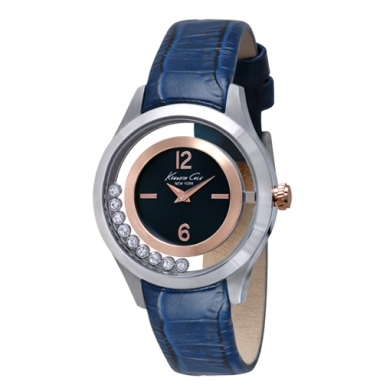 Kenneth Cole New York Crystal-Embellished Watch With Blue Croco-Embossed Strap