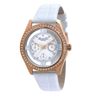 Kenneth Cole New York Multifunction Watch With White Croco-Embossed Strap