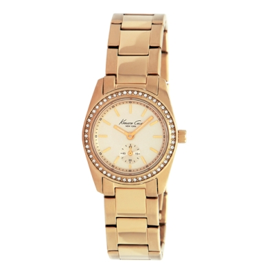 Kenneth Cole New York Slim Rose Gold Watch With Crystal-Encrusted Bezel