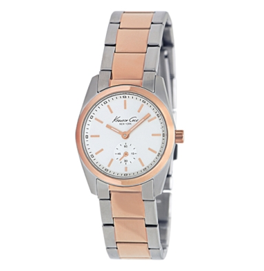 Kenneth Cole New York Rose Gold And Silver Watch With Link Strap
