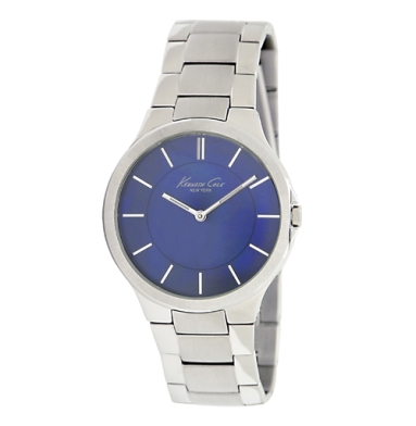 Kenneth Cole New York Blue Watch With Silver Link Strap