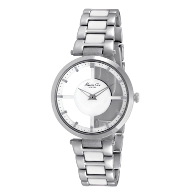 Kenneth Cole New York Transparent Watch With Two-Tone Link Strap