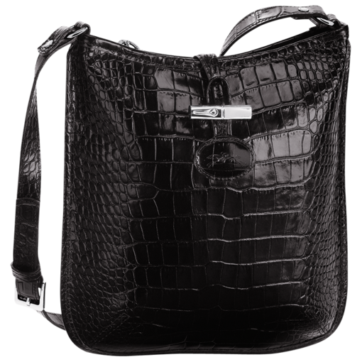 Longchamp Roseau Croco Messenger bag Black
