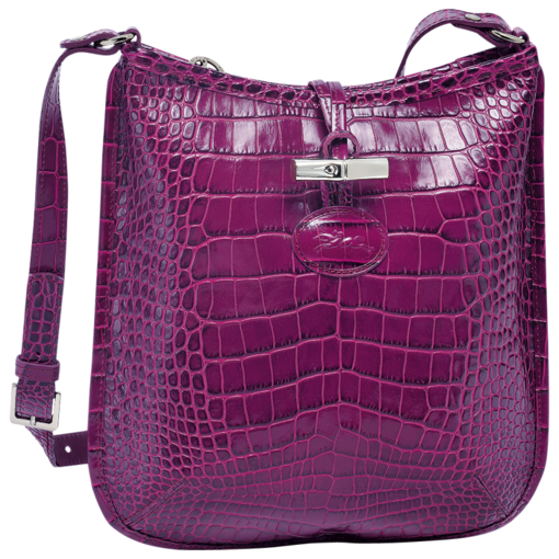 Longchamp Roseau Croco Messenger bag Fuchsia