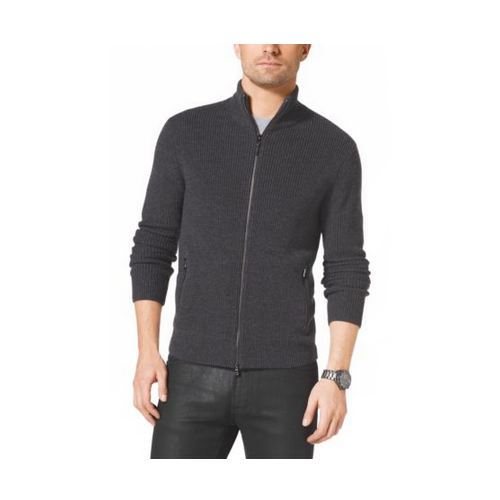 MICHAEL KORS MEN Zip-Front Wool Jacket CONCRETE