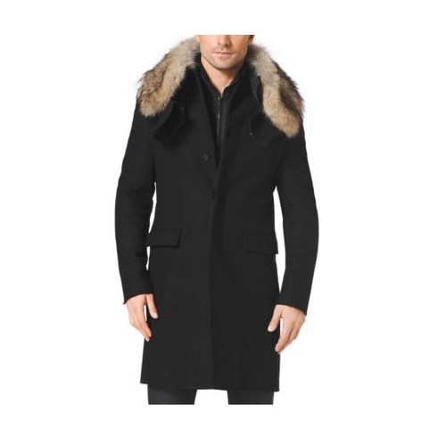 MICHAEL KORS MEN Fur-Trimmed Melton-Wool Jacket BLACK