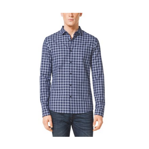 MICHAEL KORS MEN Slim-Fit Check Cotton Shirt NAVY