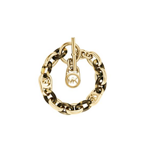 MICHAEL KORS Logo Chain-Link Gold-Tone And Tortoise Acetate Bracelet
