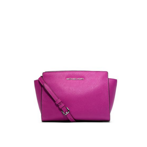 MICHAEL MICHAEL KORS Selma Medium Saffiano Leather Messenger FUCHSIA