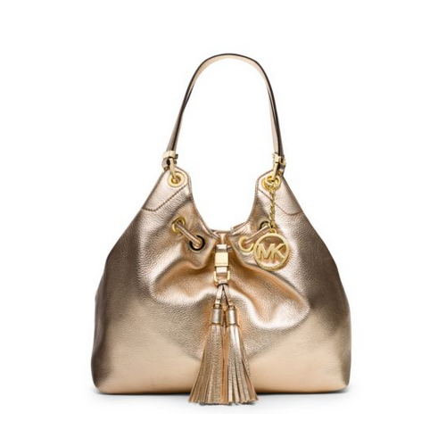 MICHAEL MICHAEL KORS Camden Large Metallic-Leather Drawstring Shoulder Bag