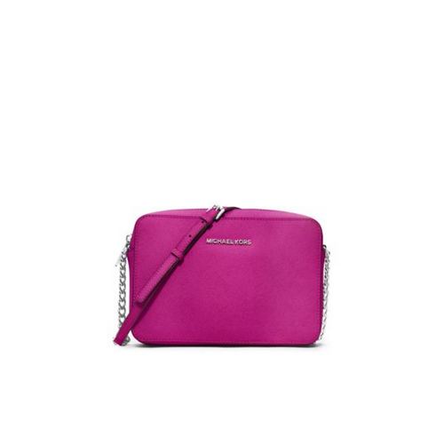 MICHAEL MICHAEL KORS Jet Set Travel Large Saffiano Leather Crossbody FUCHSIA