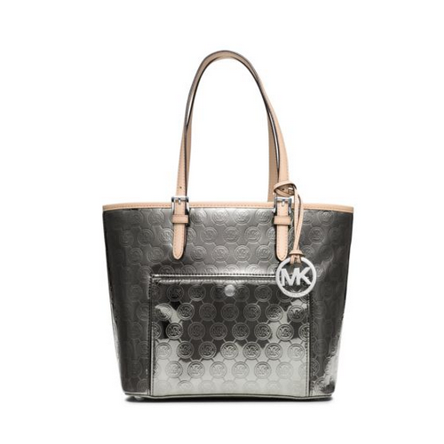 MICHAEL MICHAEL KORS Jet Set Medium Monogram Tote NICKEL