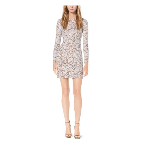MICHAEL KORS COLLECTION Paillette-Embroidered Lace Dress SUNTAN