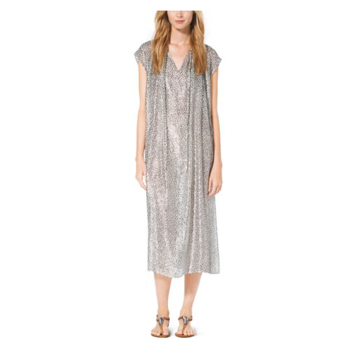 MICHAEL KORS COLLECTION Metallic Velour Fil Coup Caftan SILVER