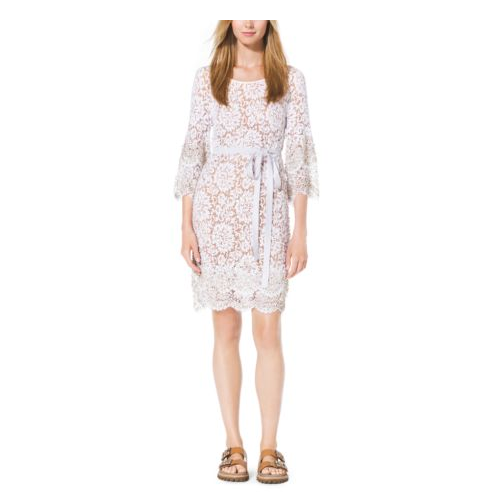 MICHAEL KORS COLLECTION Crystal-Embellished Scalloped-Lace Shift Dress OPTIC WHITE